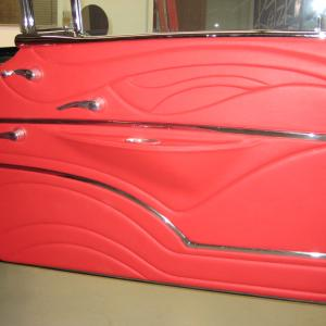 Custom made sculpted leather door panel